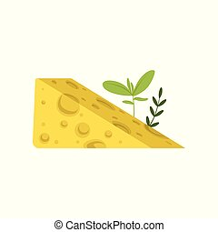 Triangular piece of Swiss cheese with green herbs. Tasty gourmet food. Healthy nutrition. Dairy product concept. Flat vector design for poster or flyer