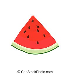 Triangular piece of watermelon. Vector illustration on white background.