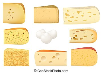 Triangular pieces of different kind of Cheese set. Parmesan mozarella swiss emmentaler cheddar gouda icons collection.