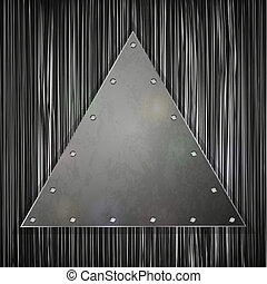 triangular plate on grunge background for your design. Vector illustration