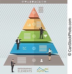 Triangular presentation template with five stages and place...