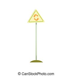 Triangular sign with a recycle symbol, waste processing and...