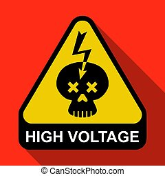 triangular sign with a skull and lightning. Caution High Voltage.
