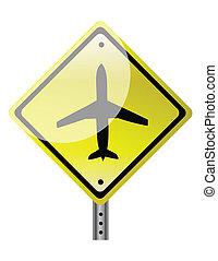 triangular, sinal estrada, com, avião