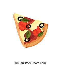 Triangular slice of pizza. Vector illustration on white background.
