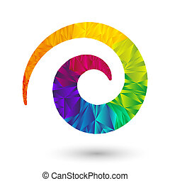 triangular spiral - colorful spiral icon element with ...