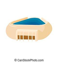 Triangular stadium icon, cartoon style