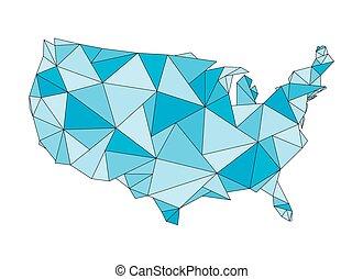 triangular United States map