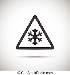 Triangular warning symbol, simple vector illustration of snowflakes