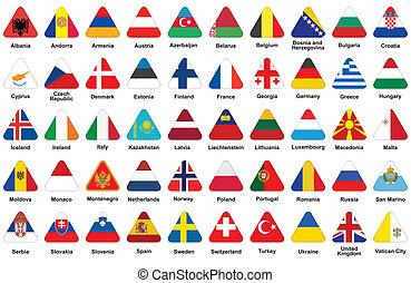 triangulo, ícones, com, bandeiras européias