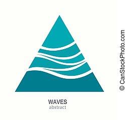 triangulo, abstratos, aqua, onda, água, logotipo, icon., design.