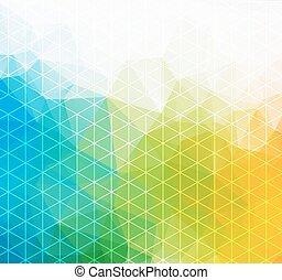 triangulo, coloridos, banner., padrão, shapes., text., hipster, retro, fundo, lugar, geomã©´ricas, seu, mosaico