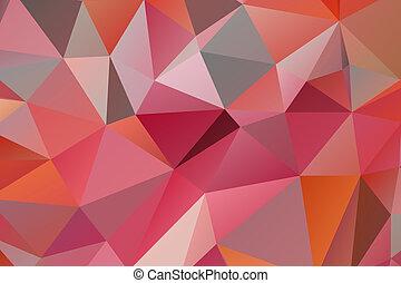 triangulo, dado forma, fundo, em, sombras, de, vermelho, e, cinzento