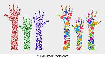 triangulo, itens, cima, vetorial, mãos, votando, mosaico, ícone