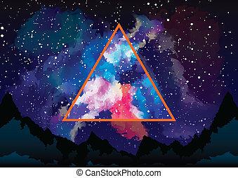 triangulo, místico, através, astral, galáxia, vista
