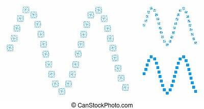 triangulo, malha, sinusoid, 2d, vetorial, modelo, mosaico,...