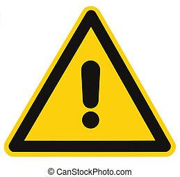 triangulo, perigo, macro, isolado, sinal perigo, aviso, em...