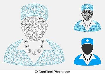 triangulo, rede, malha, vetorial, modelo, enfermeira, mosaico, ícone