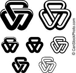 triangulo, símbolos, unidade, vetorial, pretas, branca