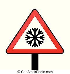 triangulo, sinal estrada, com, snowflake, para, gelado, inverno, isolado, branco, fundo