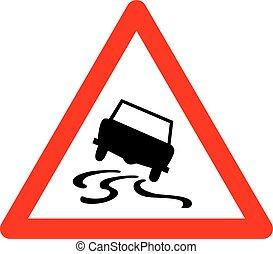 triangulo, sinal, vetorial, tráfego, estrada escorregadia