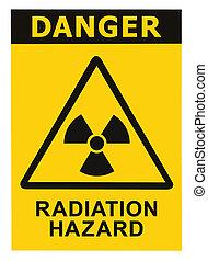 triangulo, texto, símbolo, radiação, isolado, sinal perigo, ...