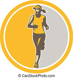 triathlete, corredor, retro, hembra, círculo, maratón