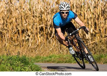 triathlete, en, ciclismo