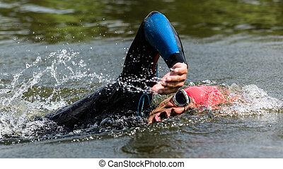 triathlete, in, schwimmender