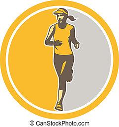 triathlete, läufer, retro, weibliche , kreis, marathon