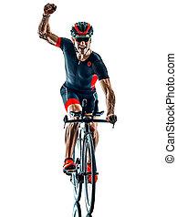 triathlete triathlon Cyclist cycling silhouette isolated white b