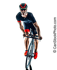 triathlete triathlon Cyclist cycling silhouette isolated white background