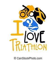 triathlon , αγάπη , γραφικός , εικόνα , χέρι , μετοχή του draw , logo.
