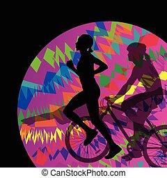 triathlon , μικροβιοφορέας , συλλογή , τρέξιμο , μαραθώνας , αγώνισμα , απεικονίζω σε σιλουέτα , άντρεs , κολύμπι , φόντο , ακολουθώ κυκλική πορεία , αφαιρώ