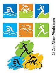 triathlon, アイコン, ボタン