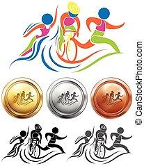 triathlon, メダル, スポーツ, アイコン