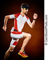 triathlon, ランナー, 隔離された, 動くこと, ironman, 人