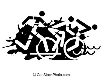 triathlon, レース, グランジ, アイコン