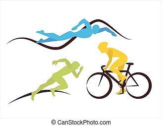 triathlon, 他, スポット, でき事, アイコン
