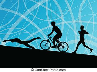 triathlon, 馬拉松, 活躍, 年輕人, 游泳, 循環, 以及, 跑, 運動, 黑色半面畫像, 彙整, 矢量,...