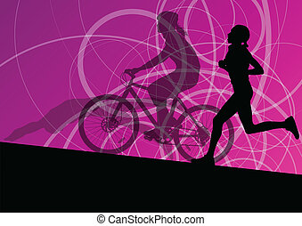 triathlon, 馬拉松, 活躍, 年輕婦女, 游泳, 循環, 以及, 跑, 運動, 黑色半面畫像, 彙整, 矢量,...