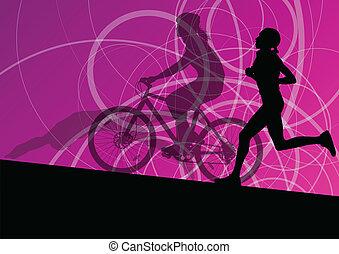 triathlon, 马拉松, 活跃, 年轻妇女, 游泳, 循环, 同时,, 跑, 运动, 侧面影象, 收集, 矢量,...