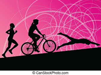 triathlon, 马拉松, 活跃, 年轻妇女, 游泳, 循环, 同时,, 跑, 运动, 侧面影象, 收集, 矢量, 摘要, 背景, 描述