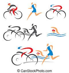 triathlon, 순환, 적당, 아이콘