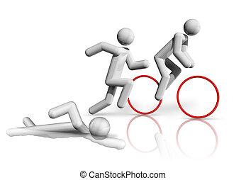 Triathlon 3D symbol - three dimensional triathlon symbol