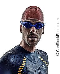 triathlon, athlet, eisen, porträt, schwimmer, mann