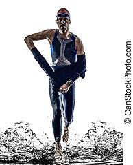 triathlon, athlet, mann, schwimmer, eisen, rennender