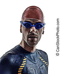 triathlon, athlet, porträt, mann, schwimmer, eisen
