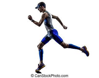 triathlon, athlet, rennender , eisen, läufer, mann