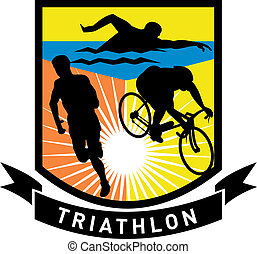 triathlon athlete run swim bike - illustration showing the...